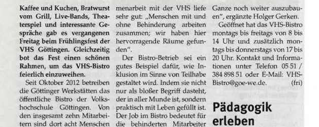 Eröffnung VHS-Bistro – Artikel im Blick