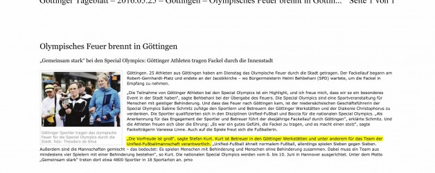Göttinger Tageblatt, 25.05.2016: Olympisches Feuer brennt in Göttingen